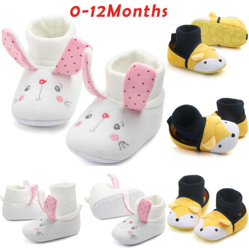 2019 Brand New Toddler Newborn Baby Crawling Shoes Boy Girl Prewalker Trainers Fur Winter Cute Animal Ears First Walker 0-12M