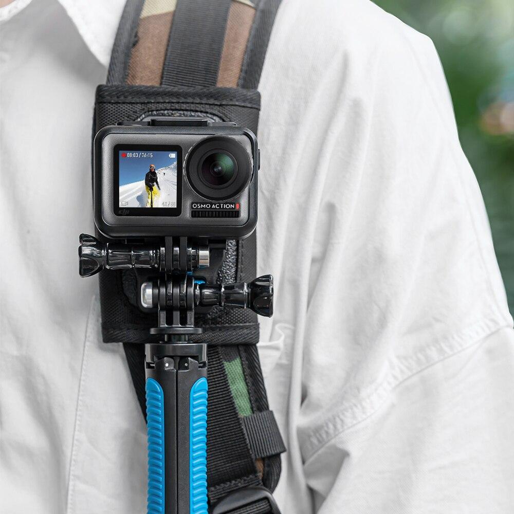 TELESIN Quick Release Shoulder Strap Mount With Dual Head J-hook Backpack Pad Holder For GoPro Hero 7 6 5 SJCAM EKEN OSMO ACTION