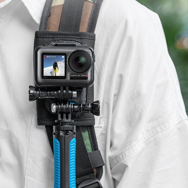 TELESIN Quick Release Shoulder Strap Mount with dual head J hook Backpack Pad Holder for GoPro Hero 7 6 5 SJCAM EKEN OSMO ACTION
