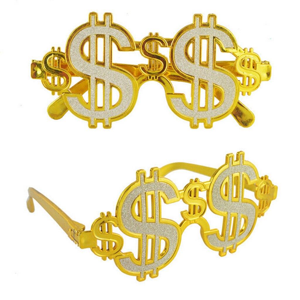 Fancy Dress Party Money Sunglasses Old Fashion Golden Shiny Dollar Signs Costume Eye Glasses Rapper Cosplay Photobooth Eyewear