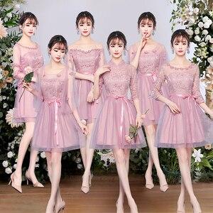 Image 2 - 新しいエレガントチュールプラスサイズのレースの花グレーピンク淡モーブ花嫁介添人ドレス、結婚式のゲストドレス、夏のパーティードレス