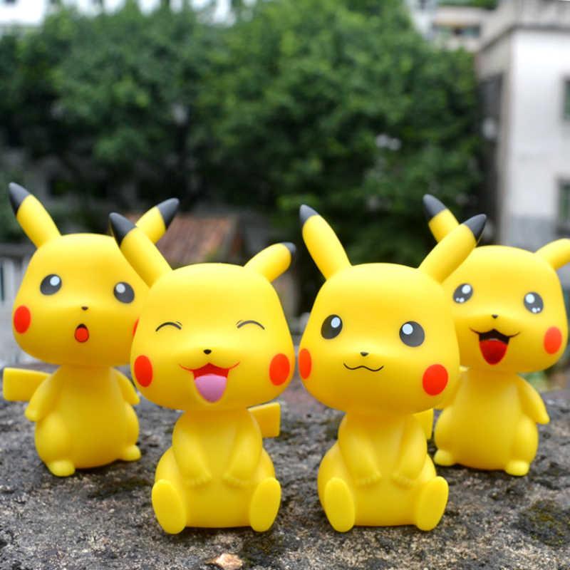 Pikachu สี่ประเภท Expression รถเขย่าหัวตกแต่งของเล่นน่ารักสำหรับสาวอุปกรณ์เสริมอุปกรณ์ตกแต่งตุ๊กตา