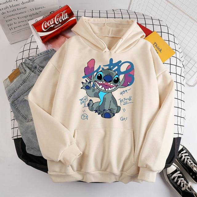 Disney Stitch Hoodies Women Harajuku Pullovers Cute Kawaii Casual Tops O-Neck Angel Print Hooded Sweatshirt Long Sleeves 5