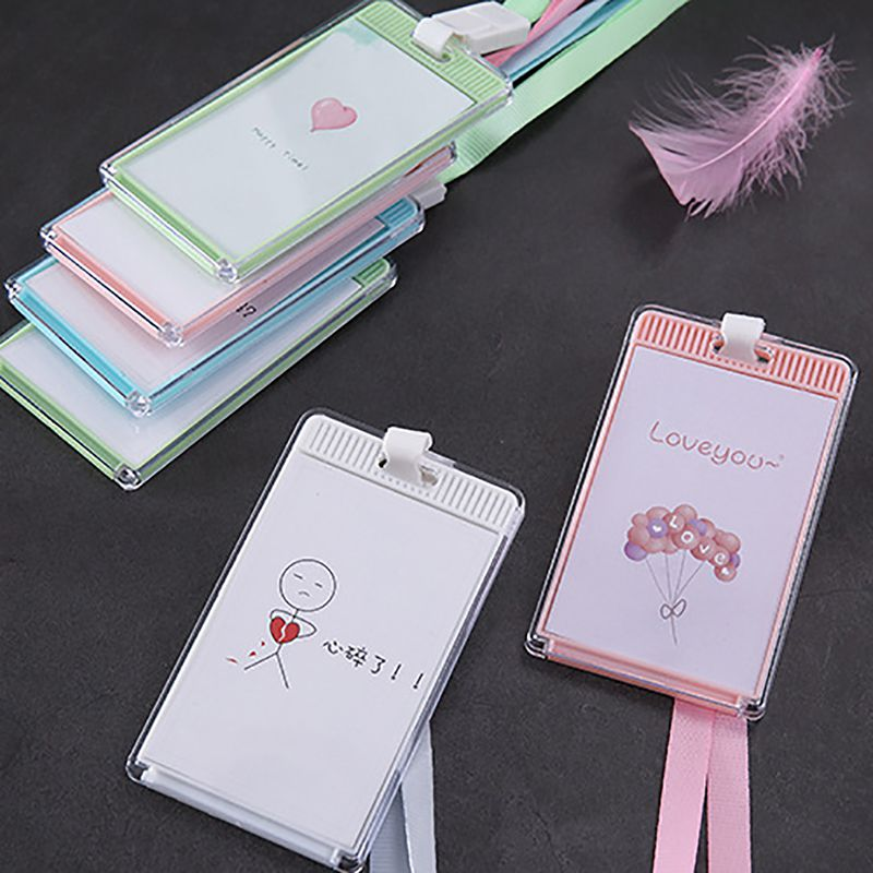 Cute Transparent Bank ID Card Holder Card Cover Case Student Business Credit Card Holders Badge Holders Bag Wallet Kids Gift in Home Office Storage from Home Garden