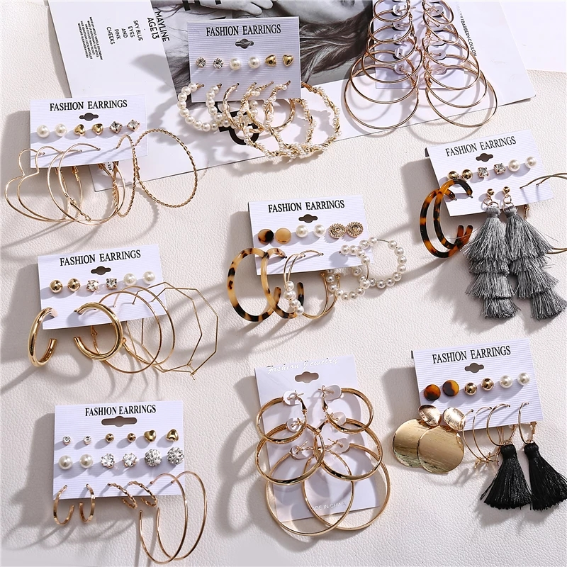 Oversize Hoop Earrings Set Gold Color Round Circle Women's Earrings DIY 2020 Brincos Statement Jewelry