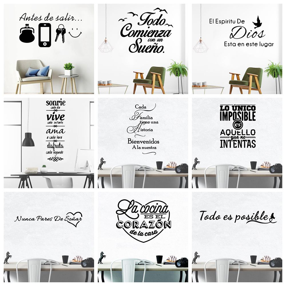 Large Spanish Quotes Phrase Art Vinyl Wall Stickers For Office Room Study Bedroom Home Decoration Sticker Mural Wall Decal Decor