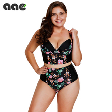 цена на Women Plus Size Tankini Swimsuit High Waisted Removable Padded Swimwear Mix and Match Bikinis Set 3XL Two Piece Bathing Suit