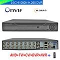 16 канальный видео Регистраторы 16CH 1080N DVR NVR H.265 + сетевой видеорегистратор Dahua панель  гибрид  6 в 1 для TVI CVI AHD 1080P Камера и 5.0MP IP Cam
