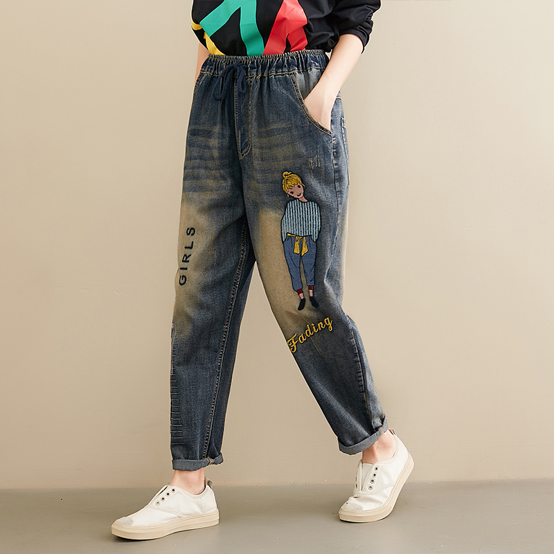 Women Spring Summer Loose High Waist Straight Jeans Girls Embroidery Harem Elastic Waist Casual Oversized Pant Female Trousers