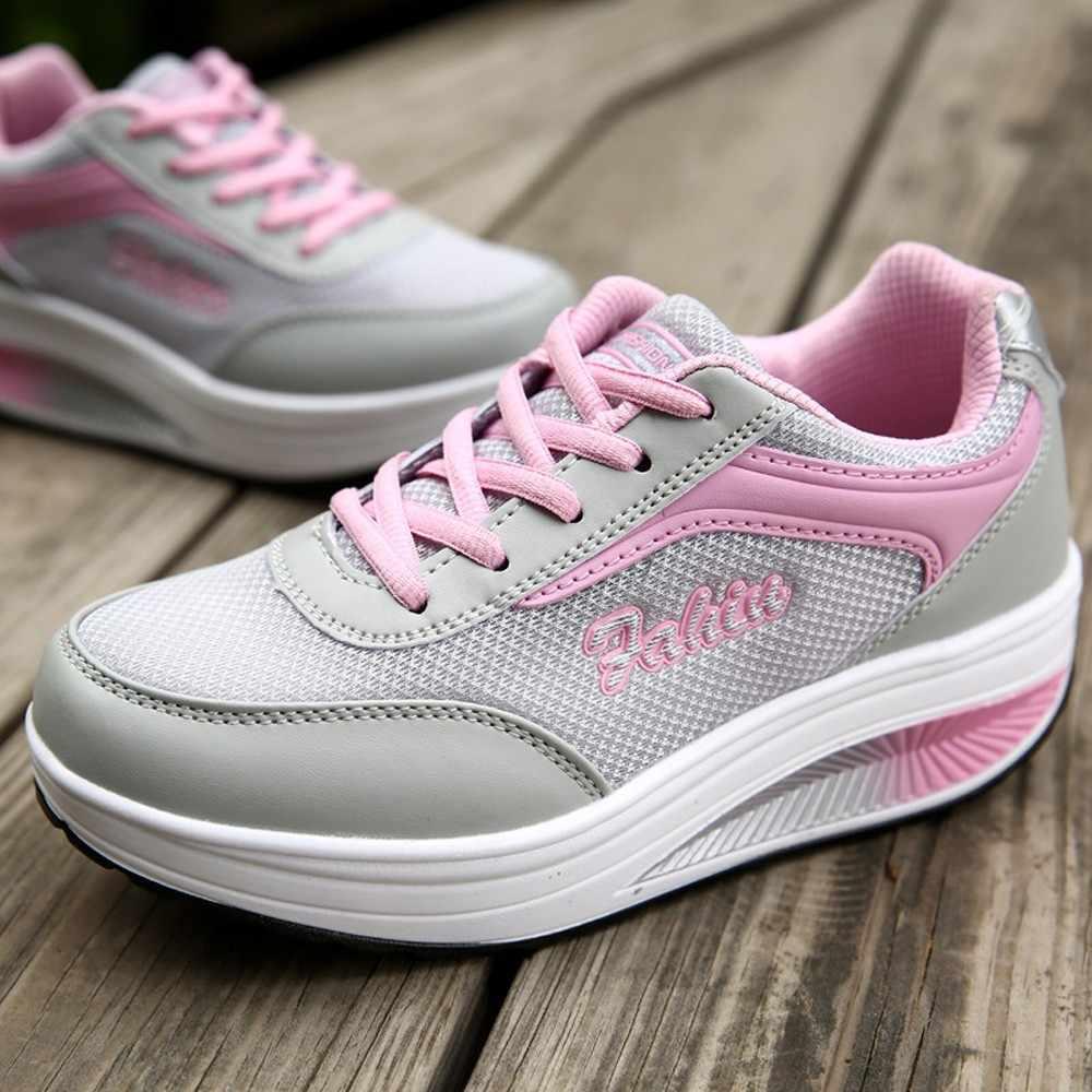 Giày Nữ 2019 Mới Chun Giày Cho Nữ Vulcanize Giày Thời Trang Bố Giày Nền Tảng Giày Rổ Femme #3