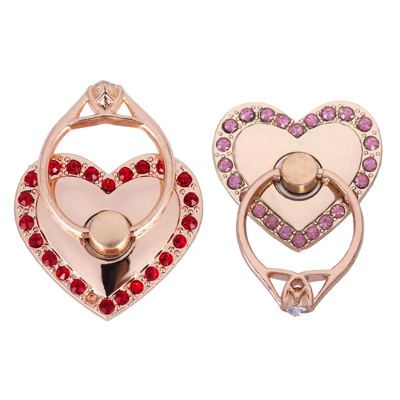 2x Fashion Heart-Shape Universal Mobile Phone Ring Stent Cell Phone Ring Holder Finger Grip Hook, Red & Pink