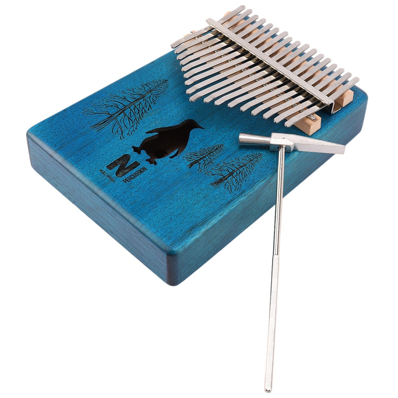 17 Keys Kalimba Penguin Thumb Piano Mahogany Wood Finger Piano Musical Instrument With Tuner Hammer Storage Box