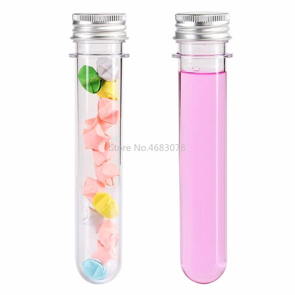 25pcs 30ml Excellent Plastic Transparent Test Tubes With Aluminum Cap Bottles 25x110mm School Supplies Lab Equipments