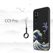 Đại Đắp Nổi Ốp Lưng Điện Thoại Xiaomi Mi Note 10 CC9 Pro, MI9Lite CC9, a3 CC9e Bao Kanagawa Sóng Cá Chép Cần Cẩu 3D Khổng Lồ Cứu Trợ Ốp Lưng