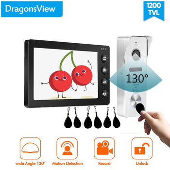 Dragonsview 7 Inch Video Intercom Motion Black Monitor Video Door Phone System Recordable 1200TVL Unlock Talk IC Card