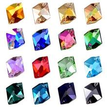 24pcs AAAAA Top Quality Glass Sew On Rhinestones 13x17mm Cosmic Shape Flatback Crystal Strass for DIY Wedding Dress B1368