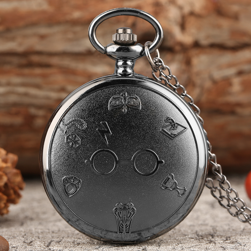Classic Lightning Glasses Quartz Pocket Watch Unisex Fashion Clock Steampunk Necklace Chain Pendant Watches Christmas Gifts