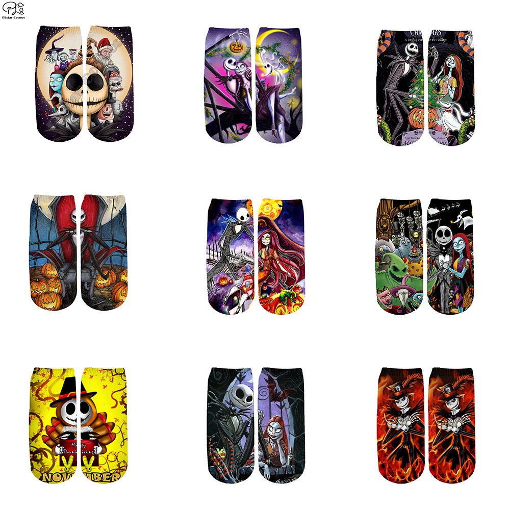 Halloween Tim Burton Corpse Bride Jack Socks Harajuku 3d Skull Print Men Women Funny Pumpkin Socks Summer Spring Fire Ankle Sock