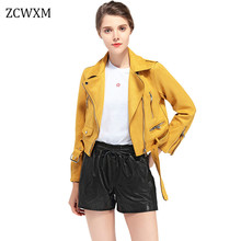 Spring Women Jacket Faux Soft Leather Suede Coat Biker Lady Turn-down Collar Zipper Short Jacket Green Pink Yellow Coats