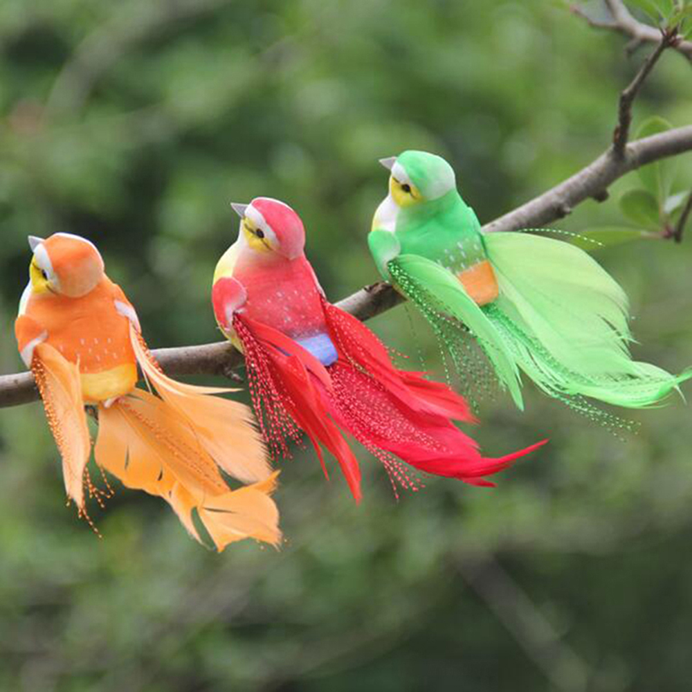 Cute Artificial Bird Foam Feather Colorful Miniature Tit Craft Birds DIY Artificial Sparrow Emulation Garden Decoration Model