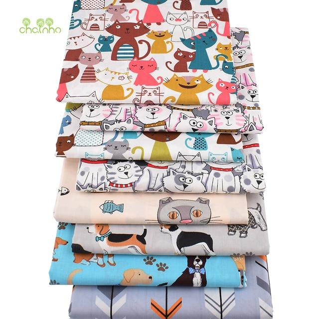 Chainho,8 sztuk/partia, Cartoon zwierząt serii, drukowane skośnym tkaniny bawełnianej, Patchwork tkaniny, DIY szycia pikowania materiał ForBaby i dzieci