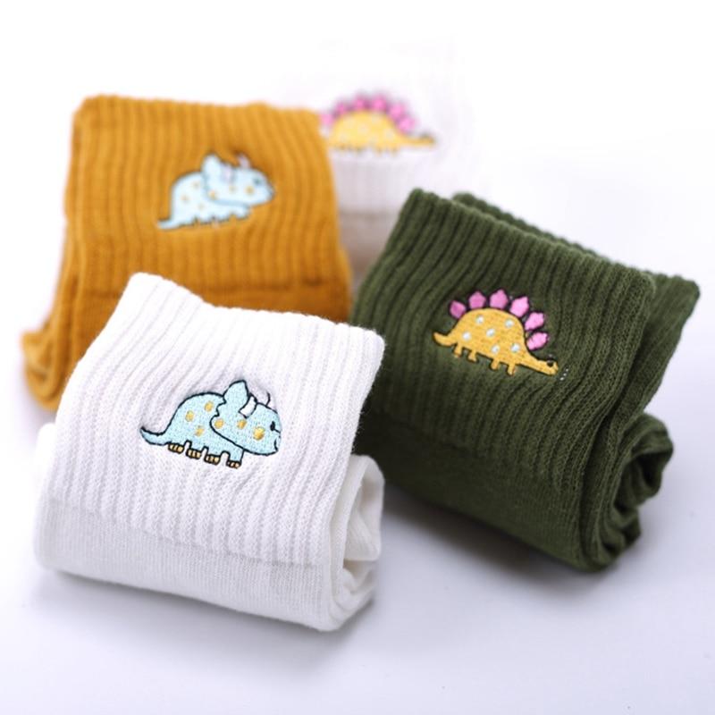Fashion Cute Creative Dinosaur Embroidery Cotton Women Socks Top Quality Cartoon Funny Monster Winter Lovely Harajuku Yellow Art