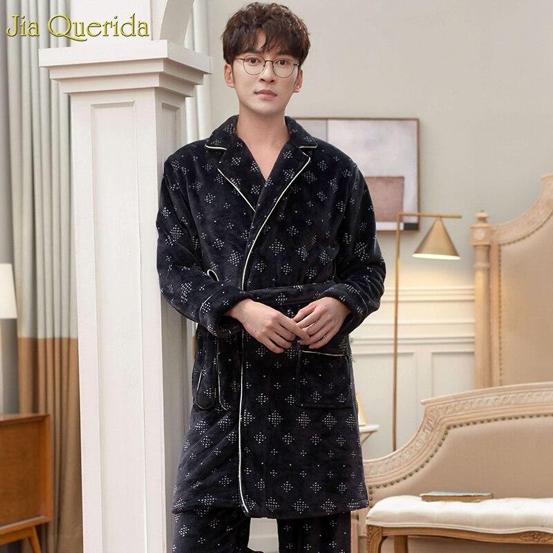 Matching Pijamas Couple Flannel Couples Pajamas Long Sleeve Japanese Kimono Top Belted Robe Men And Women's Two Piece Pajama Set