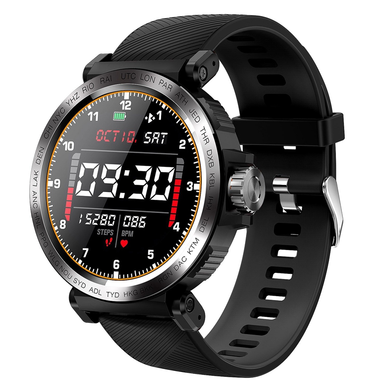 S18 Full Screen Press Smart Watch IP68 Waterproof Men Sports Clock Heart Rate Monitor Smartwatch for IOS Android Phone Black