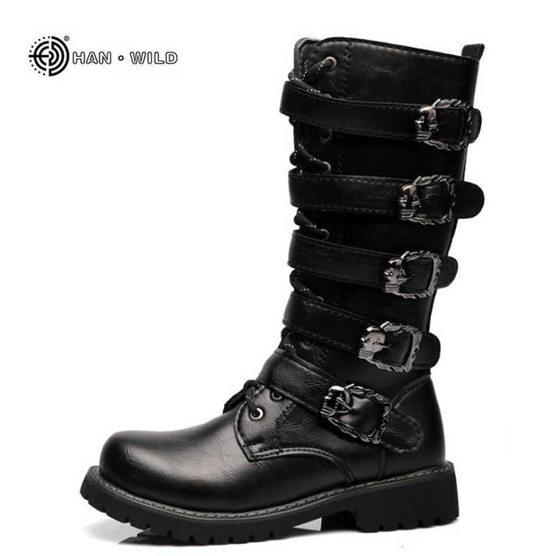 Зимние мужские ботинки в байкерском стиле; коллекция 2018 года; модные ботинки до середины голени в стиле панк-рок; мужские черные высокие повседневные ботинки из искусственной кожи