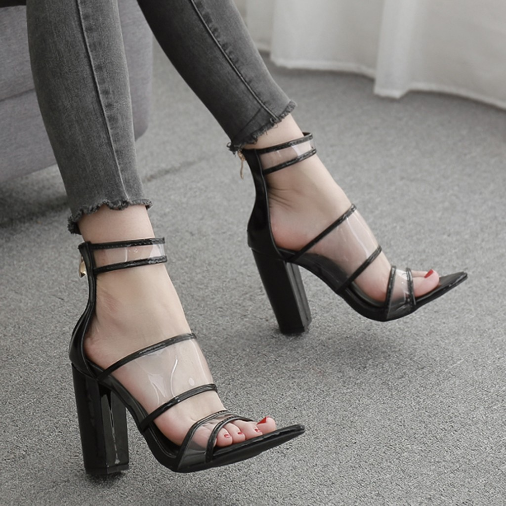 JAYCOSIN Women Platform Sandals Super High Heels Woman Waterproof Back Zip Square Sandals Peep Toe Shoes Pointed Shoes Woman 1 2