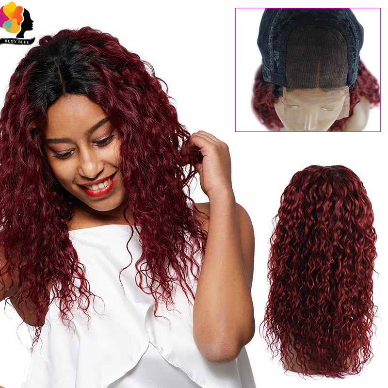 Remyblue 4*4 Water Wave Lace Closure Wig T1B/99J/Red Burgundy Ombre Human Hair Lace Wigs Glueless Brazilian Remy Human Hair Wigs