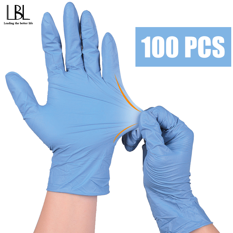 100PCS/Lot Multifunctional Nitrile Gloves Flexible Blue Waterproof Allergy Free Disposable Safety Gloves Nitrile Gloves Mechanic