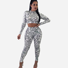 Two Piece Pants Set Women Dollar Print Long Sleeve Combinaison Pantalon Femme Wo
