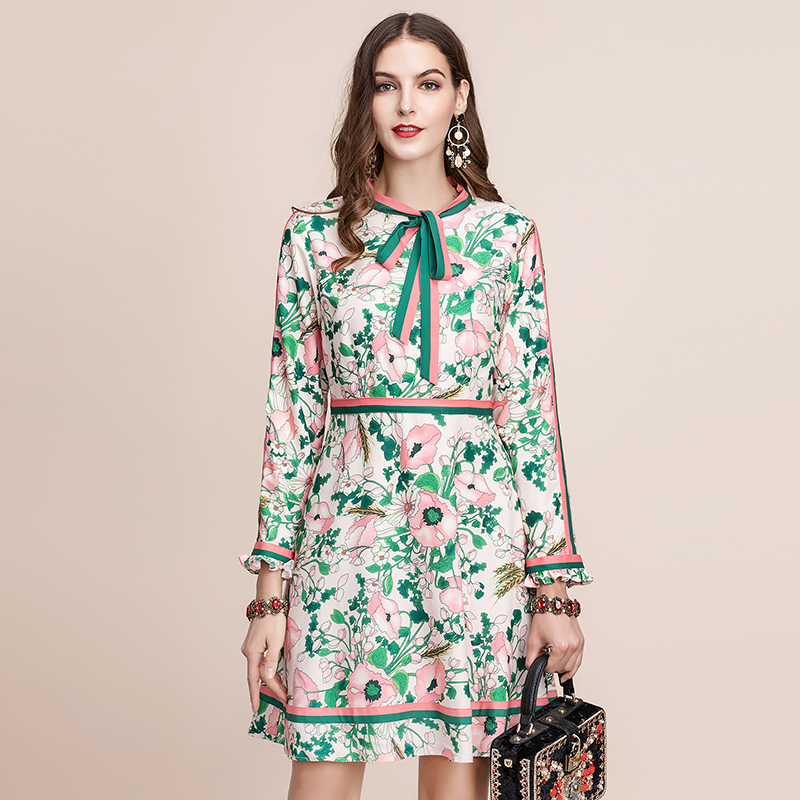 Baogarret Autumn Fashion Runway Long Sleeve Dress Women 39 s Belted Collar Multicolor Floral Print Vintage Elegant Dress 2019 in Dresses from Women 39 s Clothing