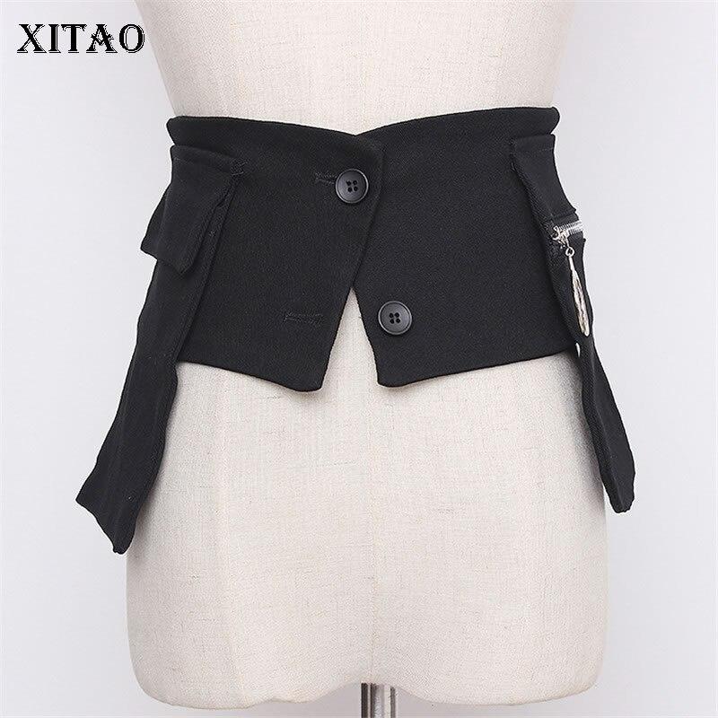 XITAO Black Women Irregular Cummerbunds Fashion Women 2020 Summer Concave Zipper Flap With Double Pockets Cummerbunds XJ4845