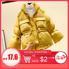 Women winter jackets parkas 2020 Fashion Thick warm Lantern sleeve tops jackets Slim solid sweet jackets for female