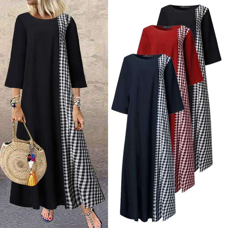 Summer Patchwork Dress 2020 Women Casual Sundress ZANZEA Vintage 3/4 Sleeve Printed Party Long Maxi Vestidos Famele Tunic Robe