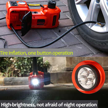 Car Jack 3 in 1 Electric Hydraulic Jacks 5T Car Floor Jack 12V with Inflator Pump LED Light for Truck Tire Repair Tool 45CM