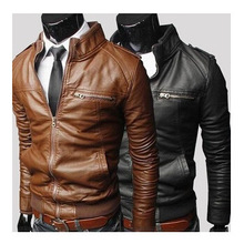 2019 New Fashion Autumn Male Leather Jacket Plus Size 3XL Black Brown Mens Stand