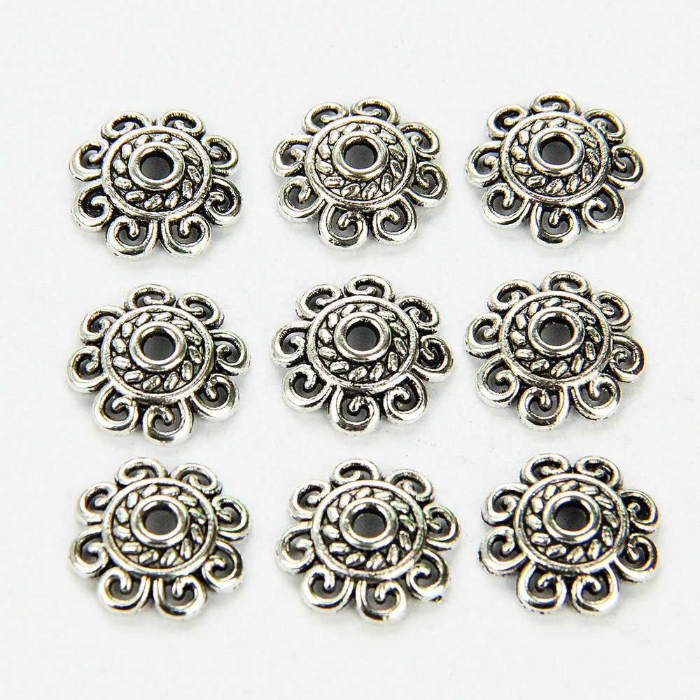 1 PC 12 Mm Zinc Alloy Perak Bintang Bunga Spacer Akhir Beads Caps Pesona untuk Pembuatan Perhiasan Gelang Aksesoris 846