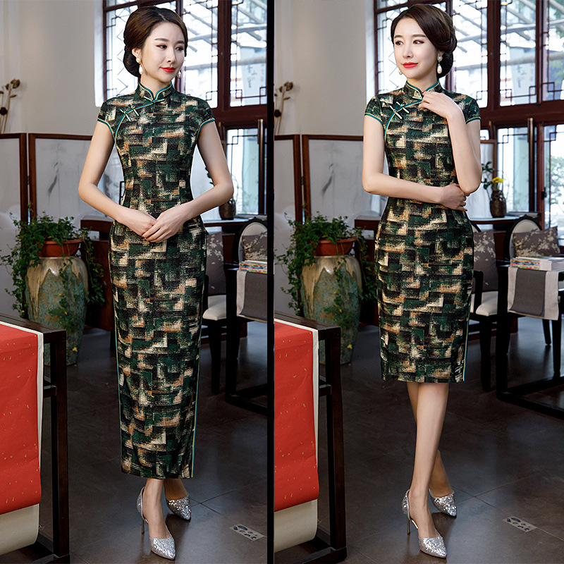Cross Border WOMEN'S Dress 2019 Summer New Style Real Silk Short Sleeve Cheongsam Middle-aged Camouflage Middle-aged Women Dress