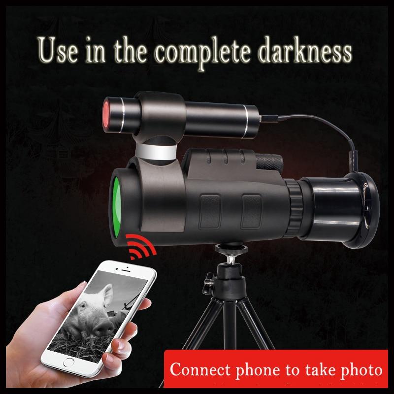 Caméra infrarouge Vision nocturne portée de chasse 40X60 télescope monoculaire 200m lampe de poche Source infrarouge connecter téléphone Mobile APP