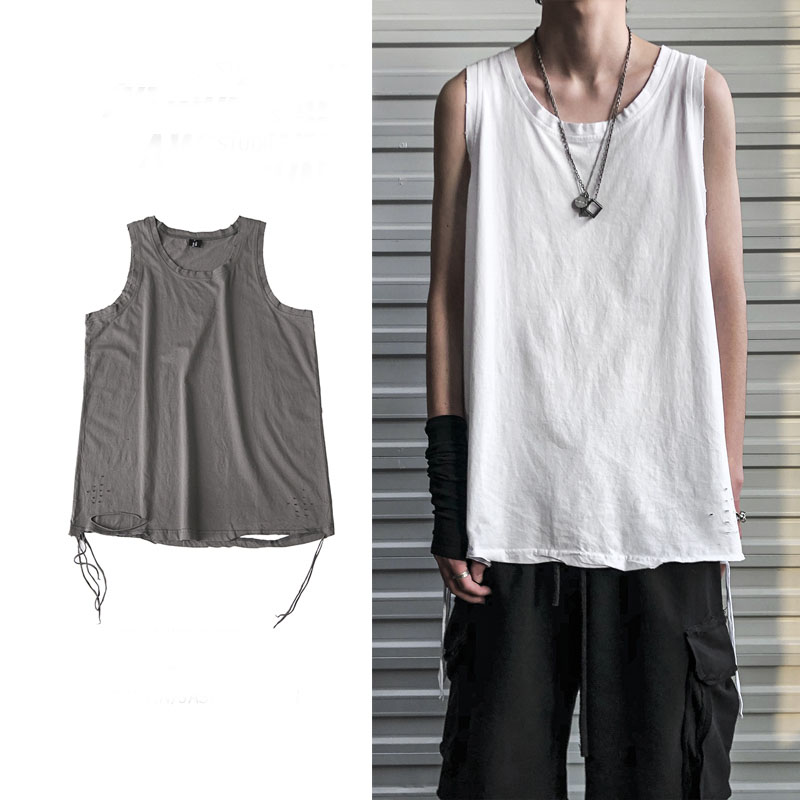 Sleeveless men tank top Ribbon Gym Sport Vest Bodybuilding loose Hip Hop Streetwear Workout Elastic Men