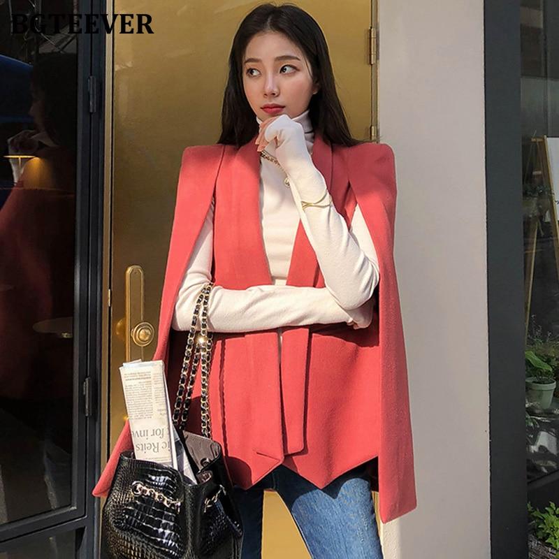 BGTEEVER Fashion Women Cloak Blazer Winter Woolen Jacket Female Thicken Open Stitch Blend Coat Women Elegant Outwear 2019