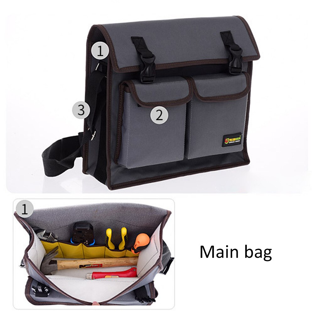 Tool Bag Toolkit Electrician Tool Single Shoulder Bag Hardware Waterproof Wear-resistant Oxford Cloth Tools Belt Bag Multifuncti