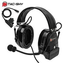 TAC-SKY COMTAC I silicone earmuffs hearing defense noise reduction pickup military shooting tactical headset BK+U94PTT