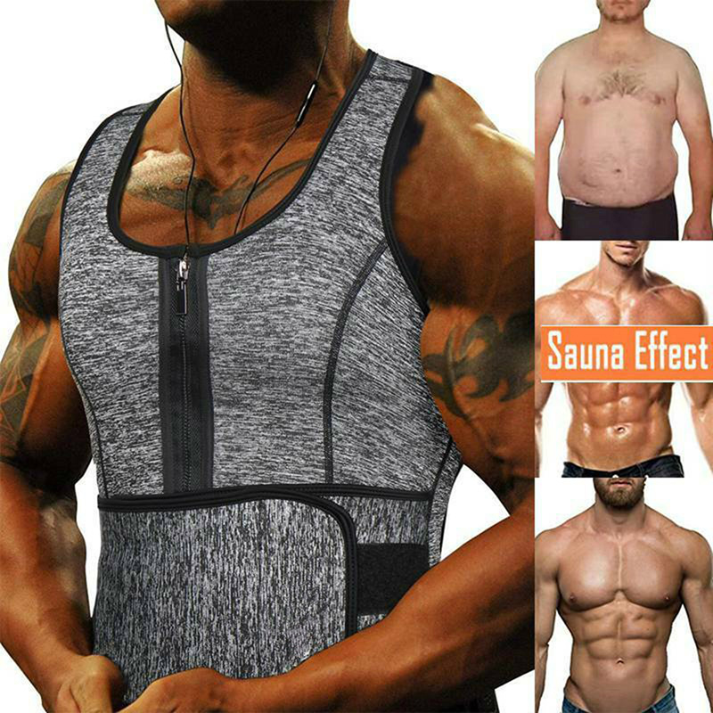 Men Sweat Sauna Vest Waist Trainer Compressiong Neoprene Body Shaper Corset Weight Loss Shaper Slimming Tank Top Workout Shirt