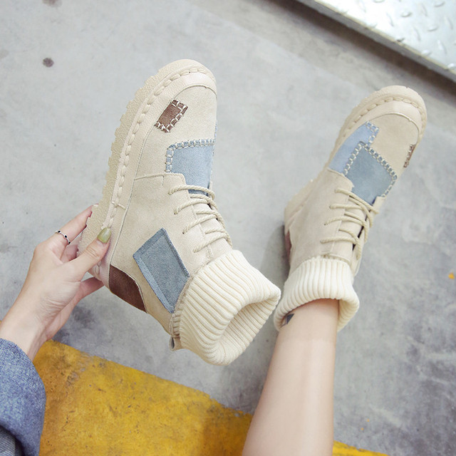 Sneaker Women Flats Flock Lacing Shoes Female Casual Shoes Fashion Sneakers Women High Top Lady Patcahwork Martin Boots 3