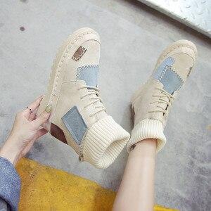 Image 3 - BIGFIRSE Sneaker kobiety mieszkania stado sznurowane buty kobiece obuwie moda Sneakers kobiety wysokie góry Lady Patcahwork Martin buty