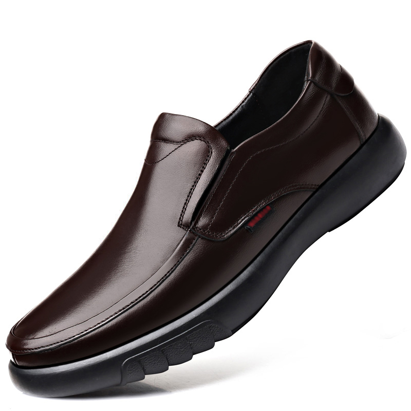2019 Men's Genuine Leather Shoes 38-47 Head Leather Soft Anti-slip Rubber Loafers Shoes Man Casual Real Leather Shoes
